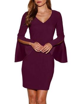 Beyond Travel™ V Neck Flare Sleeve Dress by Boston Proper