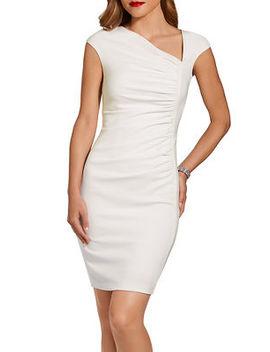 Ruched Angled V Neck Dress by Boston Proper
