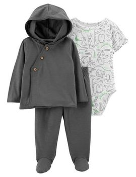 3 Piece Dinosaur Cardigan & Footed Pant Set by Carter's