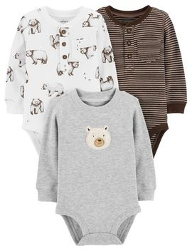 3 Pack Bear Long Sleeve  Bodysuits by Carter's