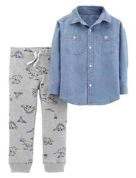 2 Piece Chambray Top & Dinosaur Jogger Set by Carter's