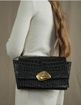 Black Croc Shoulder Bag by Pixie Market