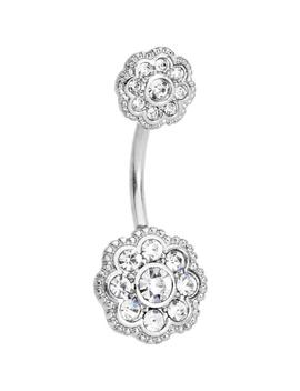 Clear Cz Gem Art Deco Flower Double Mount Belly Ring by Body Candy