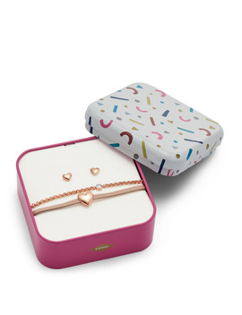 Heart Rose Gold Tone Stainless Steel Studs And Bracelet Box Set by Fossil