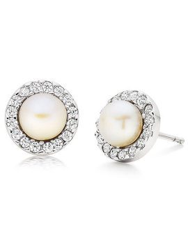 Silver Cubic Zirconia Freshwater Cultured Pearl Earrings by Beaverbrooks