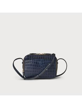 Mariel Navy Croc Effect Shoulder Bag by L.K.Bennett