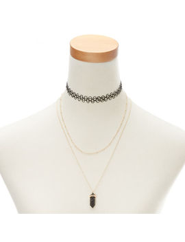 Marble Stone Necklaces   Black, 2 Pack by Claire's