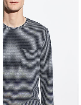 Feeder Stripe Long Sleeve Crew by Vince