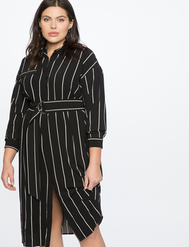 Button Front Belted Dress by Eloquii