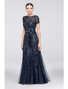 Short Sleeve Sequined Illusion A Line Gown by Rm Richards