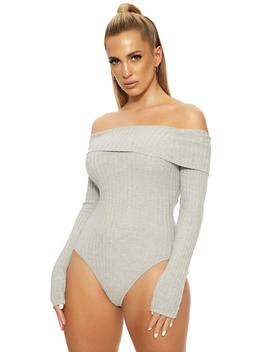 Not On My Shoulders Ribbed Bodysuit by Naked Wardrobe