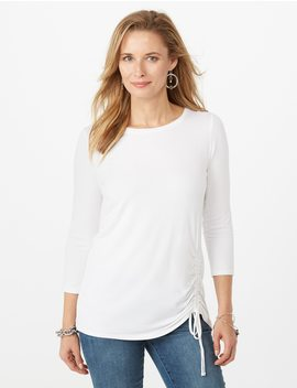Ruched Side Tee by Dressbarn