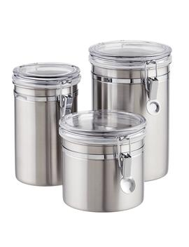 Brushed Stainless Steel Canisters by Container Store