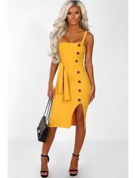Brunch & Bubbles Mustard Button Detail Side Split Midi Dress by Pink Boutique