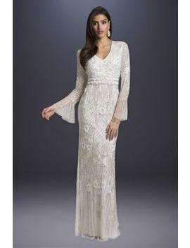 Lara Alyssa Beaded Wedding Dress With Bell Sleeves by Lara