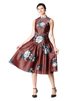 Floral Print Dupioni Drop Waist Belted Dress by Eshakti