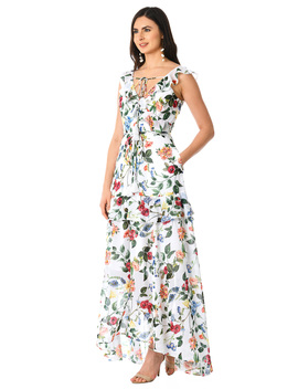 Ruffle Floral Print Tassel Tie Georgette Dress by Eshakti