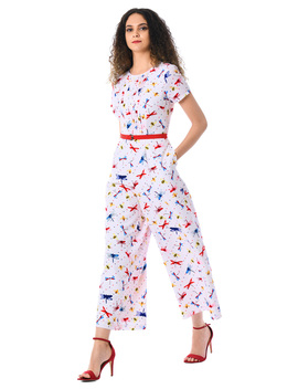 Dragonfly Print Belted Crepe Jumpsuit by Eshakti