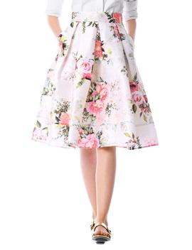 Rose Print Dupioni Box Pleat Skirt by Eshakti