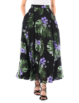 Tropical Floral And Palm Print Georgette Skirt by Eshakti