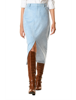 Vented Faux Suede Straight Skirt by Eshakti