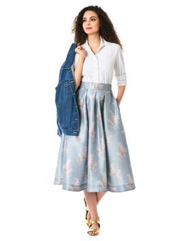 Box Pleat Floral Print Dupioni Midi Skirt by Eshakti