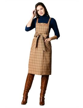 Sash Tie Twill Plaid Pinafore Dress by Eshakti