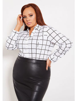 Windowpane Button Front Top by Ashley Stewart