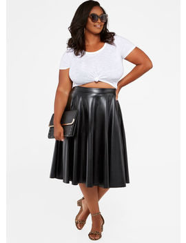 Faux Leather Full Skirt by Ashley Stewart