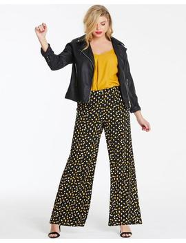 Spot Print Crepe Wide Leg Trousers by Simply Be