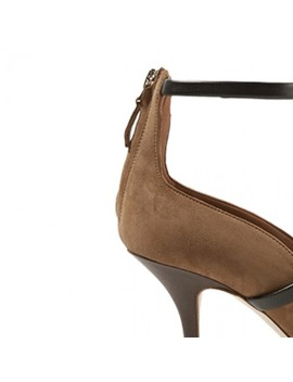 Dacey Ankle Strap Stiletto Heel Suede Pumps by Jessica Buurman