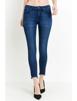 Dark Destructed Hem Skinnys by Runway & Rose, New York