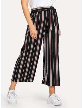 Striped Tie Waist Wide Leg Pants by Sheinside