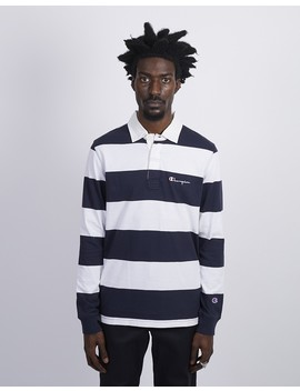 Long Sleeve Striped Polo Navy by The Idle Man