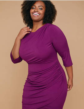 Fast Lane Built In Smoothing Slip Draped Front Purple Sheath Dress by Lane Bryant