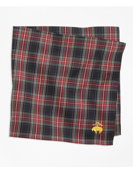 Black Stewart Tartan Pocket Square by Brooks Brothers