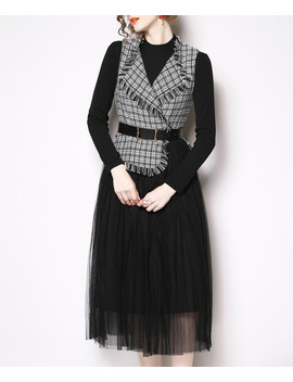 Black & White Check Sheer Detail Dress by Kaimilan                                      Sold Out