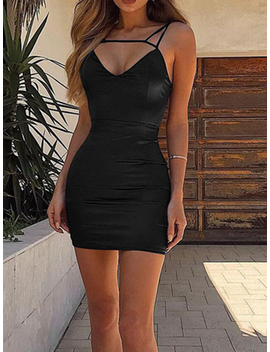 Black V Neck Open Back Women Bodycon Cami Mini Dress by Choies