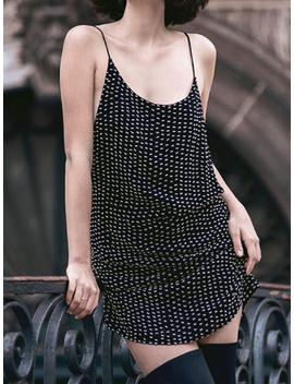 Black Polka Dot Open Back Chic Women Cami Mini Dress by Choies