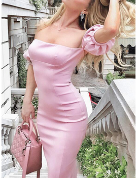 Pink Off Shoulder Split Back Puff Sleeve Chic Women Bodycon Mini Dress by Choies