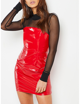 Red Strapless Belted Waist Leather Look Bodycon Mini Dress by Choies