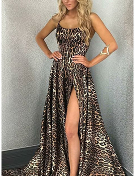 Khaki Leopard Print Thigh Split Front Open Back Slip Maxi Dress by Choies