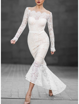 White Off Shoulder Long Sleeve Lace Dress by Choies