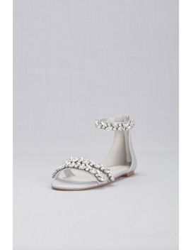Jeweled Metallic Ankle Strap Flat Sandals by David's Bridal
