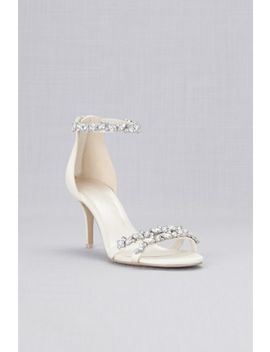 Jeweled Satin Ankle Strap Heels by David's Bridal