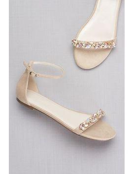 Faux Suede Gem Strap Flat Sandals by David's Bridal