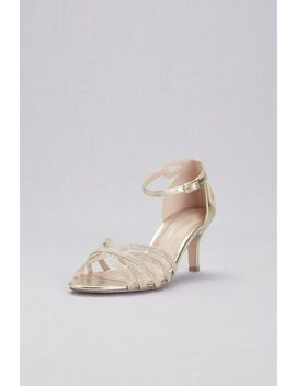 Strappy Glitter D'orsay Sandals With Heel Detail by Pink Paradox