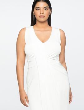 Jason Wu X Eloquii Drape Front V Neck Dress by Eloquii