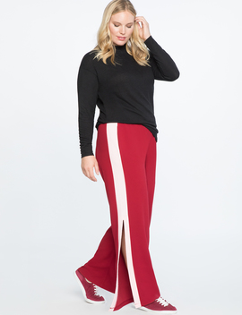 Wide Leg Track Pant With Side Slit by Eloquii