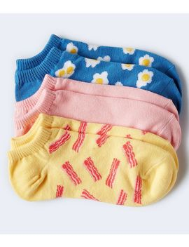 3 Pack Bacon, Eggs &Amp; Solid Ankle Socks by Aeropostale